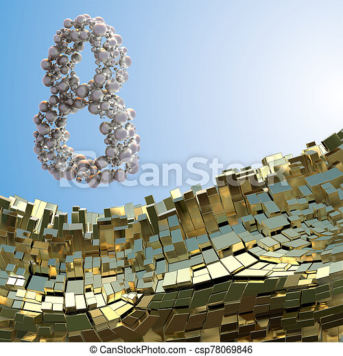 8 March word made of silver spheres flying in the space over abstract mountain landscape background of metal boxes. Decorative greeting postcard for international Woman's Day. 3d illustration - csp78069846
