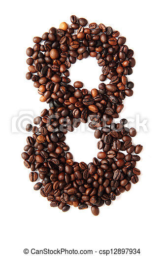 8 - number from coffee beans - csp12897934
