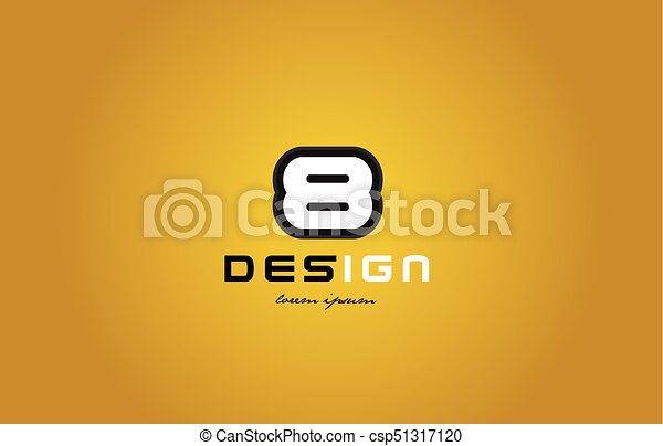 8 number numeral digit white on yellow background - csp51317120