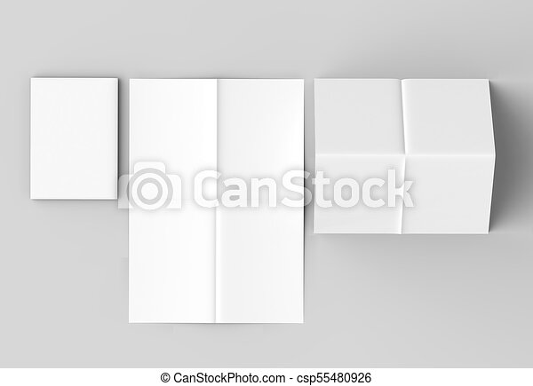 8 page leaflet - French fold right angle vertical brochure mock up isolated  on soft gray background  3D illustrating