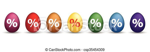 8 Percent Colored Easter Eggs Header - csp35454309