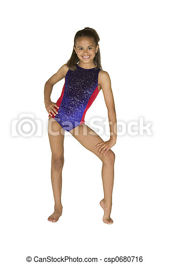 8 year old girl in gymnastics poses - csp0680716