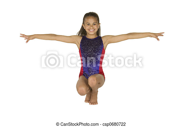 8 year old girl in gymnastics poses - csp0680722