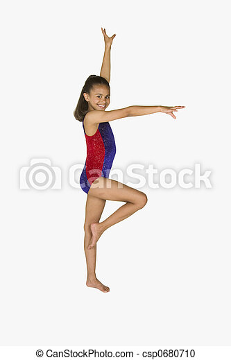 8 year old girl in gymnastics poses - csp0680710