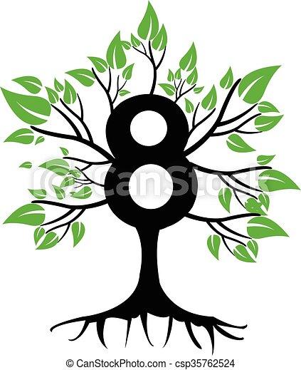 8 Years Anniversary Tree Logo - csp35762524