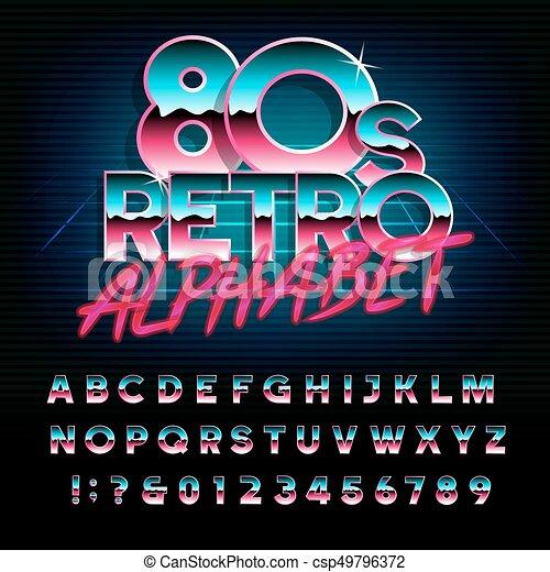 80, alphabet, lettres, effet, retro, numbers., métallique, type, font. - csp49796372