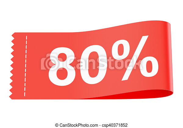 80% discount clothing tag, 3D rendering - csp40371852