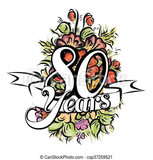 Fiori 80 Anni.80 Disegno Cartolina Auguri Anni Mazzolino Augurio Anni