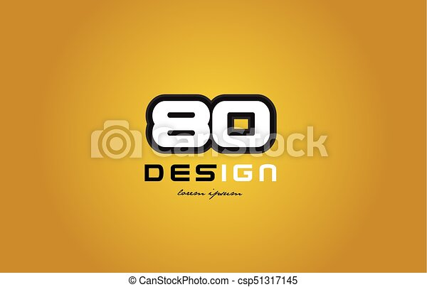80 number numeral digit white on yellow background - csp51317145