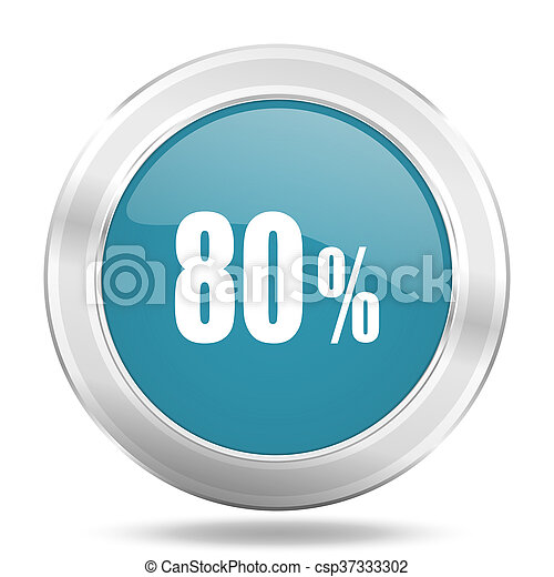 80 percent icon, blue round glossy metallic button, web and mobile app design illustration - csp37333302