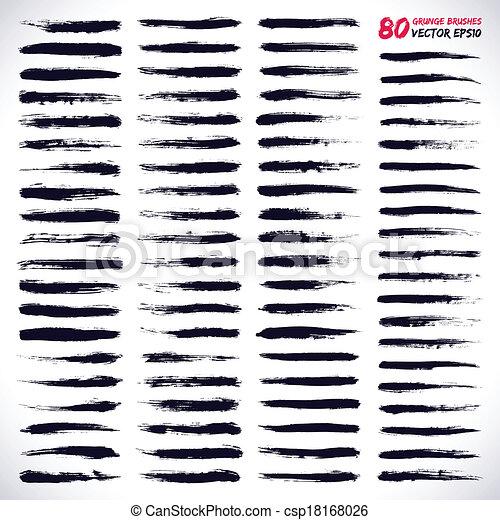 80, vector, grunge, cepillos. Brushes., conjunto, grunge, elements ...