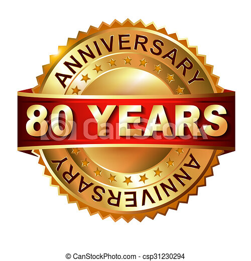 80 years anniversary golden label with ribbon. - csp31230294