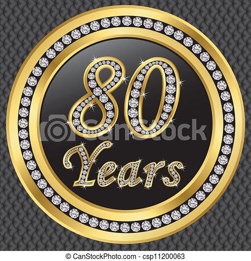 80 years anniversary happy birthday golden icon with diamonds vector