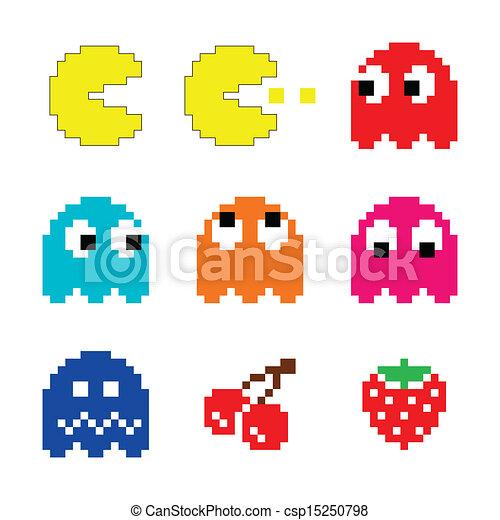 80s, pacman, computadora, fantasmas, icono. Conjunto, iconos de ...