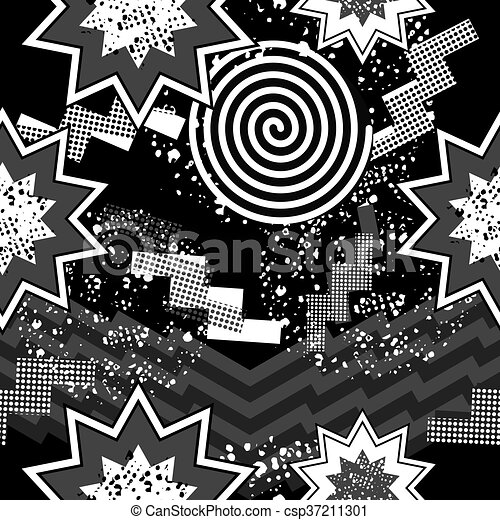80s Pop Art Seamless Pattern In Black And White