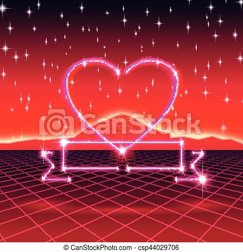 80s styled retro futuristic card with neon heart in computer world