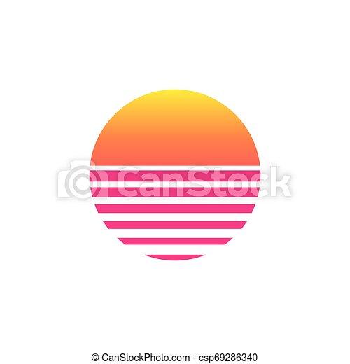 80s sunset retro neon background 90s eps vector csp69286340