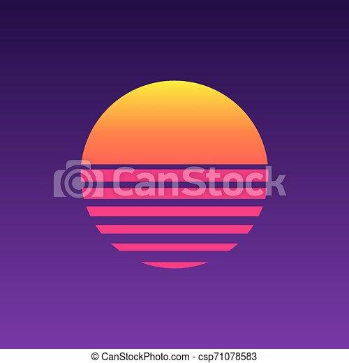 80s sunset retro neon background 90s eps vector csp71078583