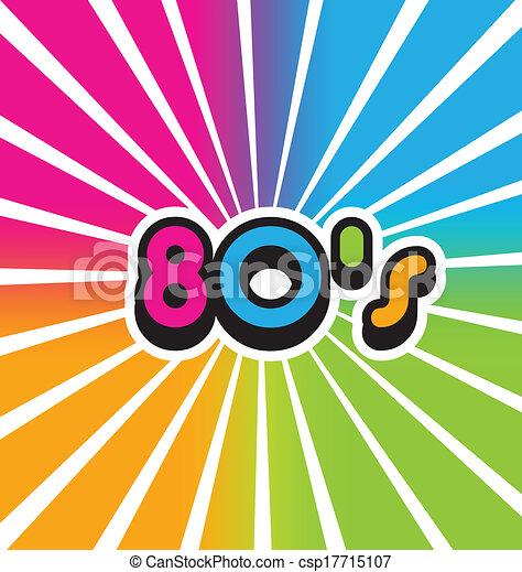 80s, vindima, cor, vetorial, fundo - csp17715107