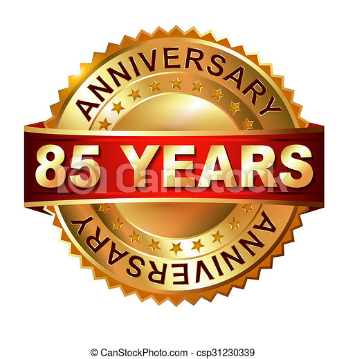 85 years anniversary golden label with ribbon. - csp31230339