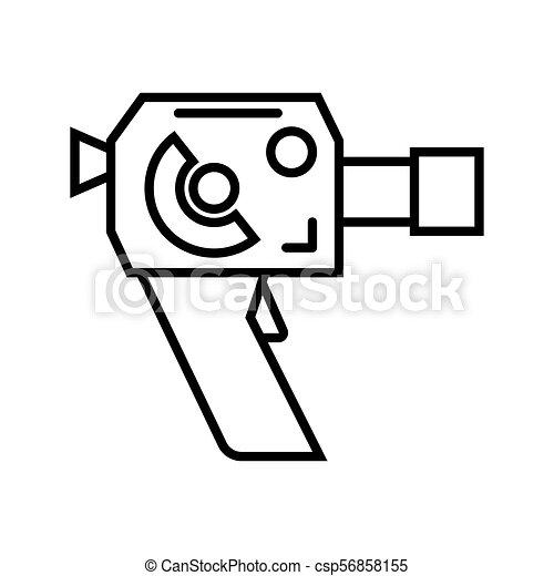 8mm イラスト ベクトル レトロ カメラ フィルム 8mm カメラ
