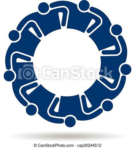 9人の人々, logo., グループ, 人 - csp30244512