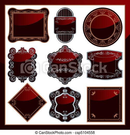 9, élégant, résumé, étiquettes, ensemble - csp5104558