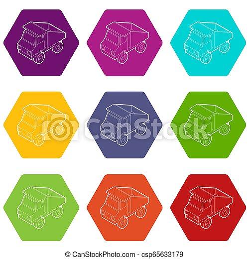 9, おもちゃ, セット, トラック, アイコン - csp65633179
