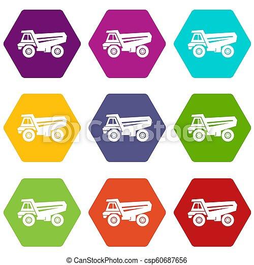 9, セット, トラック, アイコン - csp60687656