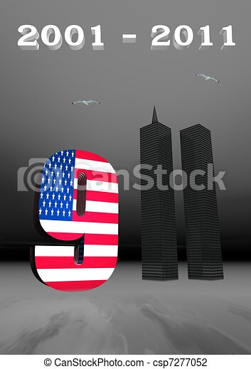 911 remembrance usa flag and world trade center twin