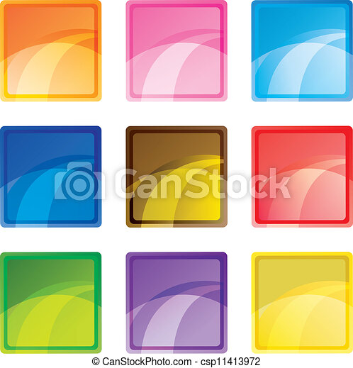 9 colored square buttons - csp11413972