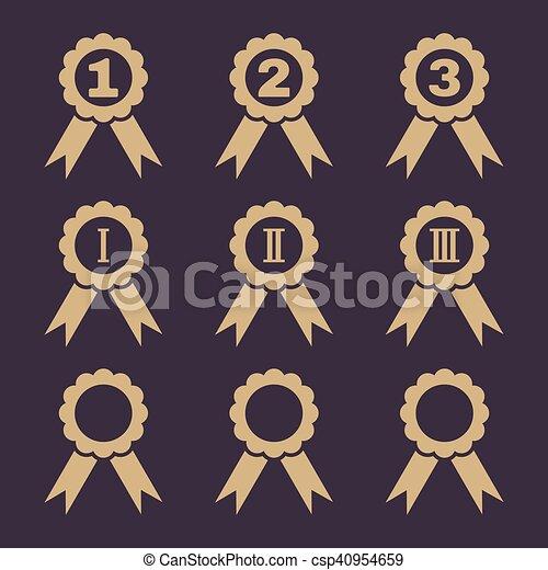 Un set de 9 iconos de premio negro. - csp40954659