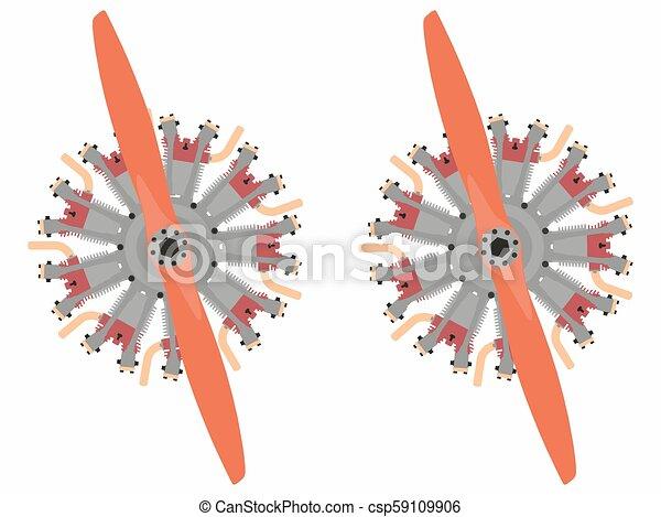 e3f7161491d2 9 cylinder radial engine colored. 9 cylinder radial engine vector or ...