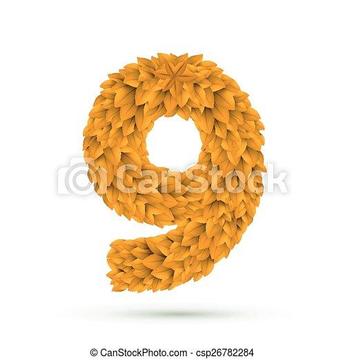9, hojas, número, amarillo, 3d. Hojas, aislado, amarillo,... vector ...