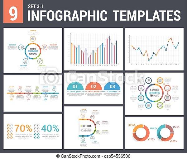 9 infographic templates 9 infographic templates set 3 colors 1
