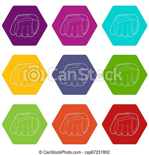9, komplet, baseballowa rękawiczka, ikony - csp67231802