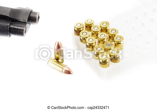 9 mm. bullets on white background - csp24332471