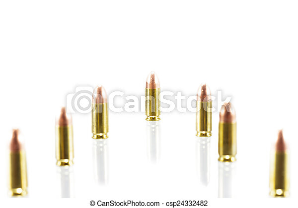 9 mm. bullets on white background - csp24332482