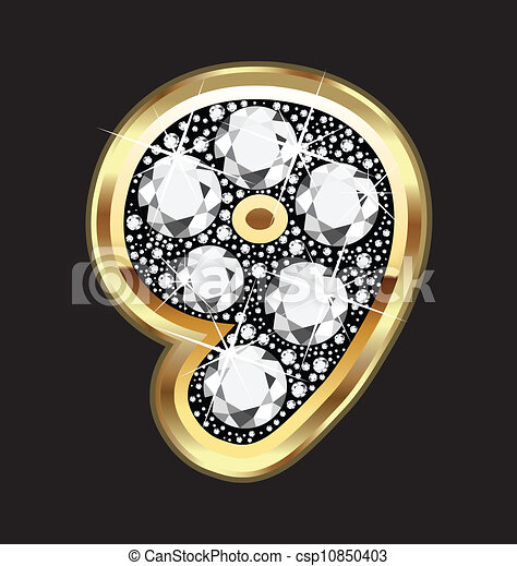 9 number in gold and diamond bling - csp10850403