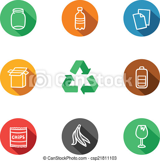 9 recycling materials icons collection - csp21811103