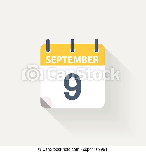 Calendario Dibujo Septiembre.9 Septiembre Calendario Icono