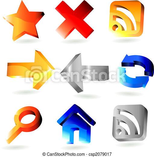 9 shiny 3 dimension web icons - csp2079017