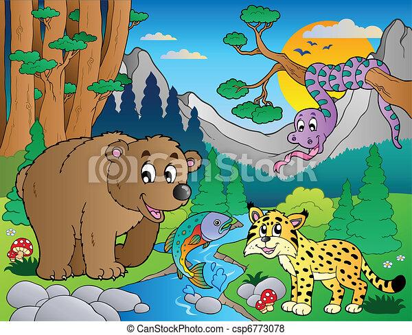 9, vario, animali, scena, foresta - csp6773078