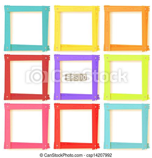 9 wooden picture frames color set - csp14207992