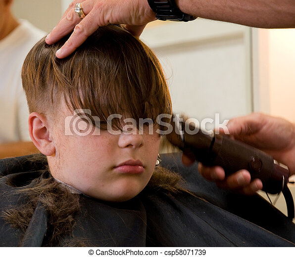 9 Year Old Boy Getting Haircut This 9 Year Old Caucasian Boy Is