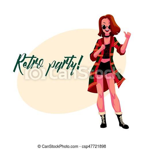 90ą, kobieta, afisz, dyskoteka, zaproszenie, retro, partyjne ubranie - csp47721898