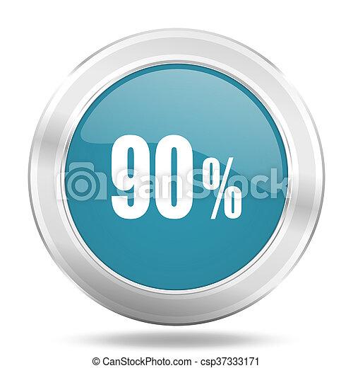 90 percent icon, blue round glossy metallic button, web and mobile app design illustration - csp37333171