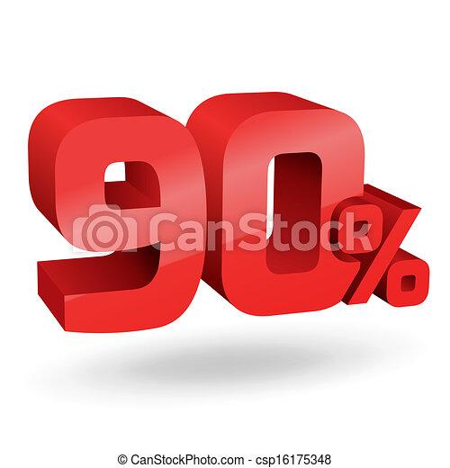 90, percento, illustrazione - csp16175348