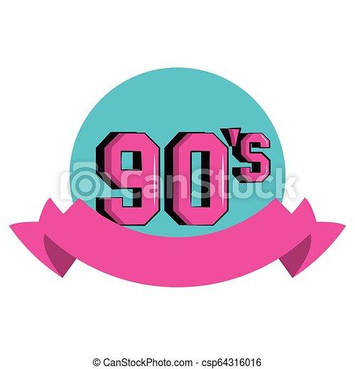 90s retro symbol cartoon round icon with blank ribbon banner.