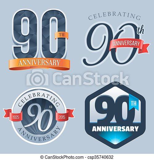 90th anniversary logo a set of symbols representing a 90 years